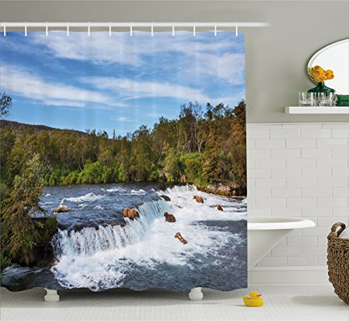 Ambesonne Wildlife Decor Shower Curtain by, Alaskan Bears Eat Fish in the Small Cascade Surrounded by Foliage Camp Place, Fabric Bathroom Decor Set with Hooks, 70 Inches, Blue Green by Ambesonne