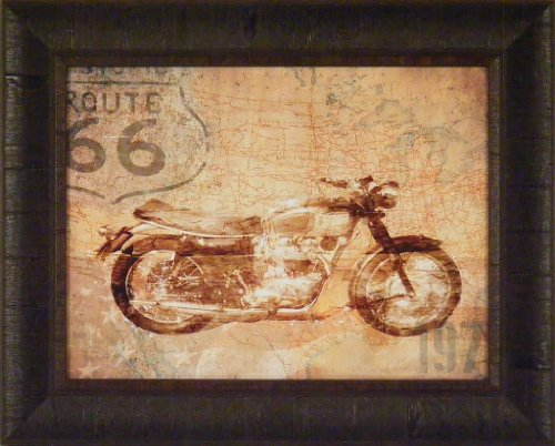 (American Rider by Andrew Sullivan 17x21 Route 66 Motorcycle Bike Riding Framed Art Print Wall Décor Picture )