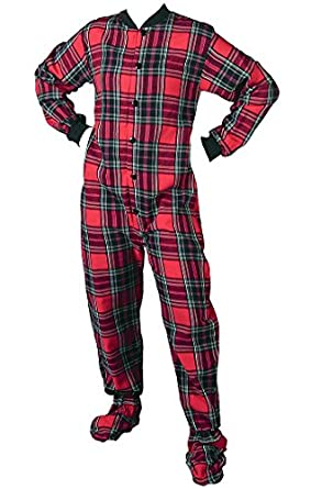 Amazon.com: Big Feet PJs Red Plaid Flannel Footed Pajamas for ...