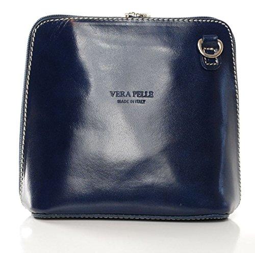 véritable Sac en Bleu Pelle à pour Bleu italien marine cuir Vera femme par bandoulière 0w4H1nwqA