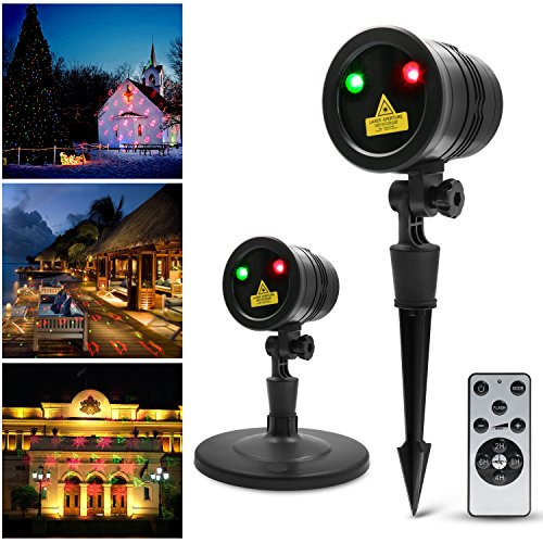 Vansky Led Projector Light with RF Remote Auto On/off Timer, Waterproof FDA Approved Landscape Holiday Spotlight Decoration For Home, Garden, Landscape, DJ Party etc.