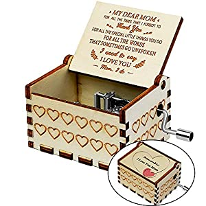 Officygnet You are My Sunshine Wood Music Boxes, Heart Shaped Laser Engraved Vintage Wooden Hand Crank Musical Box Gifts…