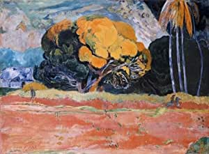 The Linen Canvas of oil painting 'Paul Gauguin-At the Foot of a Mountain,1892' ,size: 10x14 inch / 25x35 cm ,this Reproductions Art Decorative Canvas Prints is fit for Living Room artwork and Home gallery art and Gifts