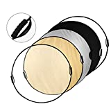 Powerextra 43-inch 110cm 5-in-1 Translucent, Silver, Gold, White and Black Collapsible Round Multi-Disc Light Reflector with Grips and Bag for Photography Photo Studio Lighting or Outdoor Lighting