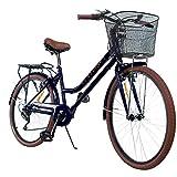 Centurfit Bicicleta Estilo Vintage Retro Clasica Urbana 6 Velocidades Rodada 26 con Canastilla Salpicaderas Frenos V.Break Asiento Ajustable Diseño Original Excelente Calidad Color Negro