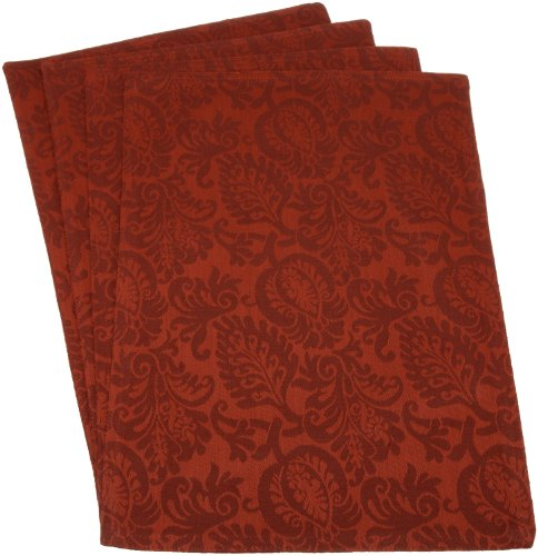 Mahogany Leaf Baroque 13-Inch by 19-Inch 100-Percent Cotton Jacquard Placemat, Red, Set of 4