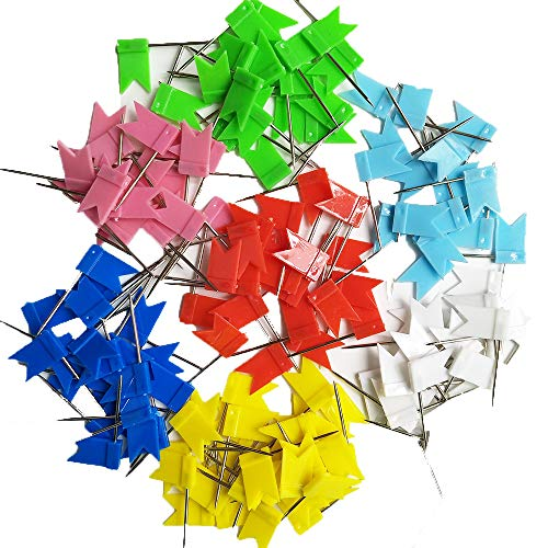 LGEGE 140 Pcs Colorful Plastic Flag Shaped Map Push Pins Push Tacks Board & Bulletin Decorative