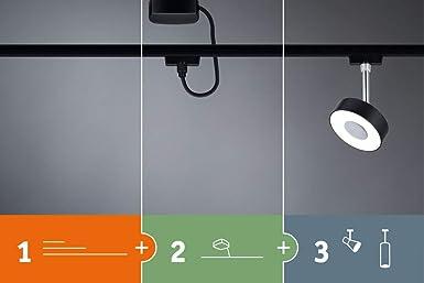 Paulmann 969.40 URail LED-Spot Tubo 4,5 W Schwarz matt//Chrom 4000K Metall//Kunststoff