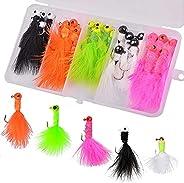 Marabou Jigs Fishing Lure Kit - 15PCS/25PCS Feather Hair Jig Hooks with Marabou Chenille for Panfish Bass Wall