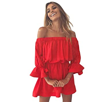 53b06eb14a0b Women's One-Neck Trumpet Sleeve Dress Party Dresses for Women Women Flare  Sleeve Off Shoulder