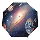 Wamika Solar System Planet Galaxy Auto Umbrella Open Close Windproof Travel Umbrella Lightweight Compact Parasol Umbrellas Sun & Rain