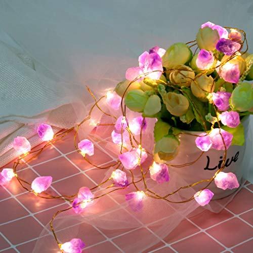 (Highpot Natural Amethyst Raw Stones Fairy String Lights 10ft 40 LEDs Lights with Remote for Indoor Outdoor Tent Wedding Valentine's Day)