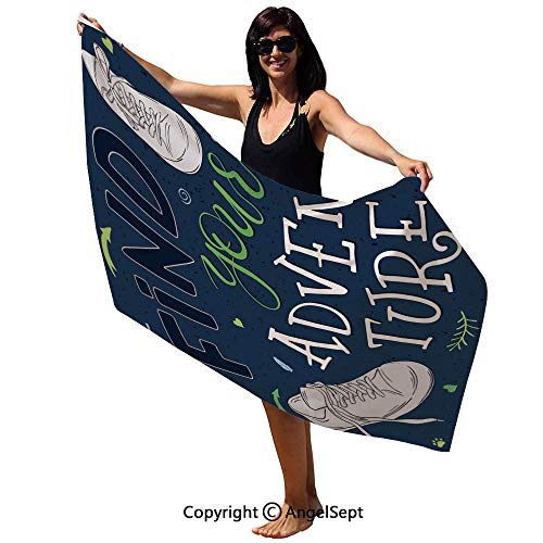 Microfiber Bath Towel,Youthful Design Find Your Adventure Quote Forest Elements and Sneakers Decorative,Ultra Absorbent and Eco-Friendly,63x31inch,Dark Blue Black Green
