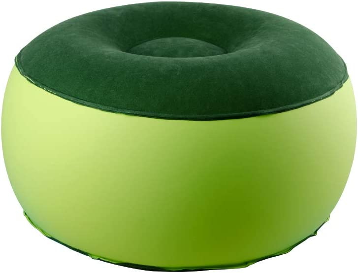 ZHUIQU Inflatable Stool Ottoman Chair for Dorm or Outdoor, Adults, Camping or Sports(Round,Green)