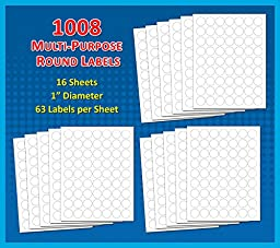 Pack of 1008, 1-inch Diameter Round Dot Labels, White, 8 1/2 x 11 Inch Sheet, Fits All Laser/Inkjet Printers, 63 Labels per Sheet, 1\