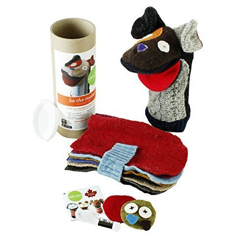 Cate & Levi - Hand Puppet Making Kit - Premium Reclaimed Wool - Machine Washable (Dog) ()
