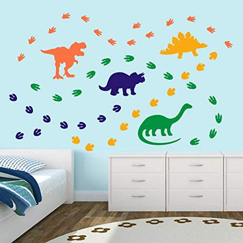 Creative Dinosaur Wall Decals, DIY Adorable Animal Dinosaur Footprints Wall Sticker for Kids Room Classroom Decoration, Orange,Blue,Yellow,Green (74 Pcs)