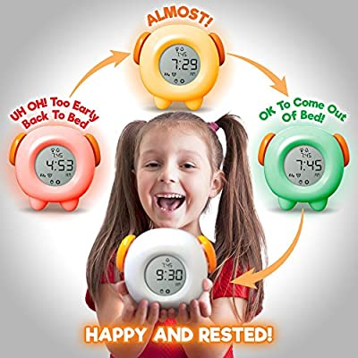 Toddler Stay-In-Bed Light Clock, Teaches Child When Ok-to Wake Up + Kids Alarm & 4 Color Morning or Night-light. Battery or USB by Learn & Climb