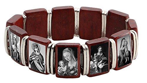 Catholica Shop Madonna Cherry Wood Bracelet Assorted Black & White Images of Madonna | Made in Brazil