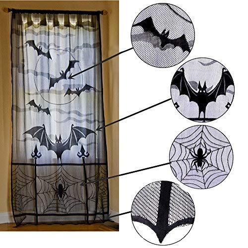 Halloween Bats Spider Web Curtains Cobweb Black Lace Festival Window Door Decor -