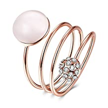 Daesar Jewelry Rose Gold Plated Cubic Zirconia Ring for Women Band Spiral Coil Promise Rings for Her
