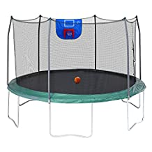 Skywalker Trampolines Jump N' Dunk with Safety Enclosure and Basketball Hoop, Green, 12-Feet