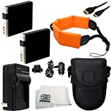 Essential Accessory Kit For Canon PowerShot D30 & D20 Waterproof Digital Cameras Includes 2 Extended Life Replacement NB-6L / NB-6LH Batteries + AC/DC Rapid Home & Travel Charger + Mini HDMI Cable + Point & Shoot Case + Floating Strap + Microfiber Cleaning Cloth