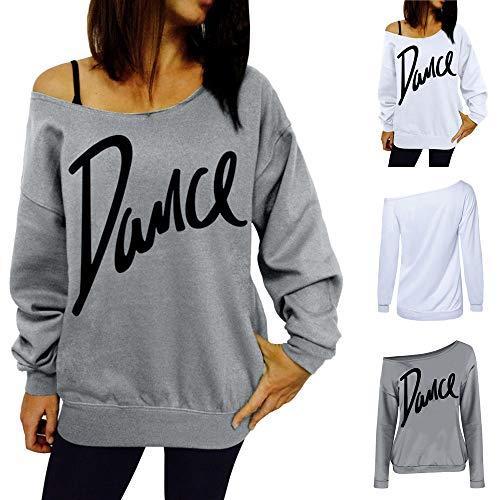 Damen Bluse Sexy TIREOW Frauen Lose Slash Neck Sweatshirt Casual Brief Tanz Pullover Tops