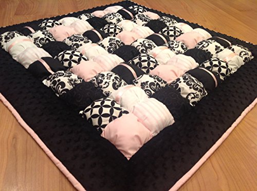 Baby Bubble Puff Quilt for Floor Time Tummy Time in Black Pink amp White