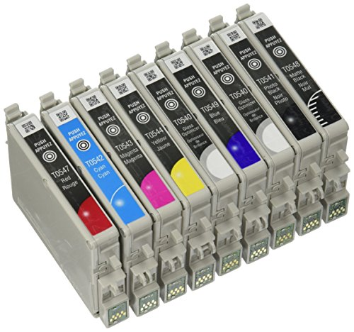 Genuine Epson 54 T054 Complete set Black and Color Ink 9 Pack T054120 T054220 T054320 T054420 T054720 T054820 T054920 T054020(2Count) for Epson Photo Stylus R800 R1800 in Epson Factory Vacuum Package