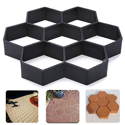 JTW- Hexagon shape - DIY Patio Walk Maker Stepping Stone Concrete Paver Mold Reusable Path Maker Mold Garden Paving Stone Molds (29x29x4 cm) Plastic black color (Inch 1 Pavers Patio)