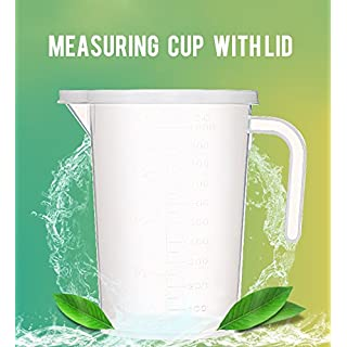 1000ml Transparent Measuring Cup with Handle and Lid for Kitchen or Laboratory Use