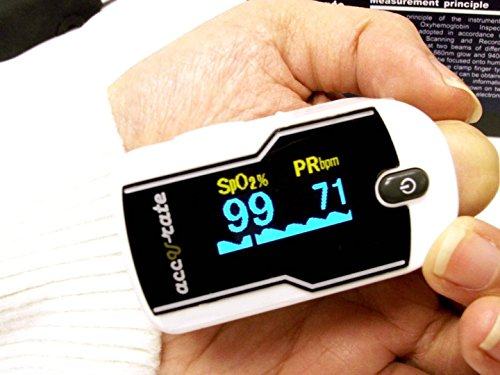 Zacurate Premium Fingertip Pulse Oximeter Blood Oxygen Saturation Monitor with Silicon Cover, Batteries and Lanyard by Zacurate (Image #6)