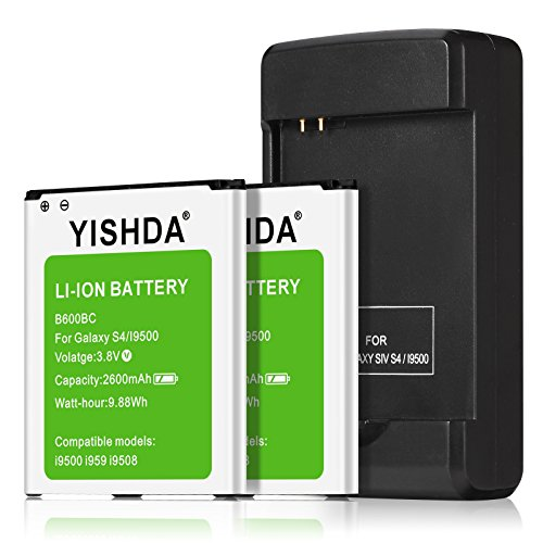 YISHDA Galaxy S4 Battery, 2 X Li-Ion Battery Replacement for Samsung Galaxy S4 [2600mAh] with Galaxy S4 Spare Battery Charger | Galaxy S4 Battery Kit - 18 Month Warranty
