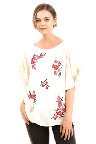 fdcc2329e9f34 UMGEE Floral Embroidered Top with Ruffled Sleeves at Amazon Women s ...