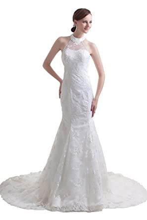 DBBRIDL White Pretty Ball-Gown Halter Lace Wedding Dress at Amazon ...
