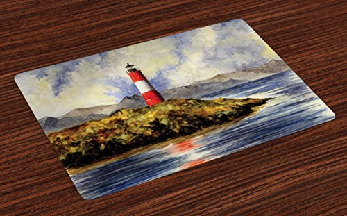 Lunarable Lighthouse Place Mats Set of 4, Les Eclaireurs Lighthouse Coastline Seashore Mountains Cliff Painting Effect, Washable Fabric Placemats for Dining Room Kitchen Table Decor, Blue Red Green - Lighthouse Place