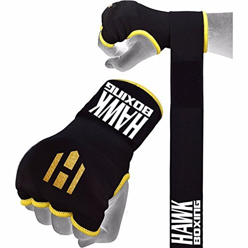Hawk Padded Inner Gloves Training Hand Wraps For Boxing Kickboxing Muay Thai MMA Bandages Fist Knuckle Wrist Protector (PAIR) (Black, S/M)