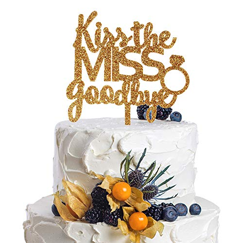 Kisses Toppers - Kiss The Miss Goodbye With Ring Gold Acrylic Cake Topper Bachelorette Bridal Shower Party Decoration
