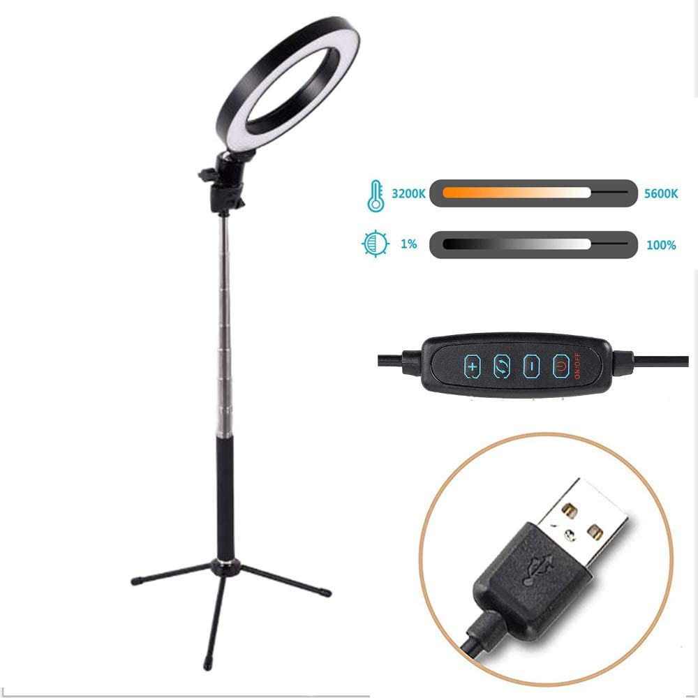 YouTube Video,26cm Ring Light Kit Light Stand,Phone Holder Makeup DelongKe Mini LED Camera Light Hot Shoe Adapter for Live Stream