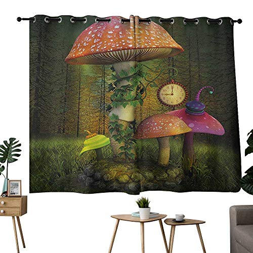 NUOMANAN backout Curtains for Bedroom Fantasy Green Coral Treatments Thermal Insulated Light Blocking Drapes Back for Bedroom 42