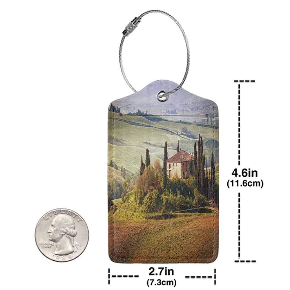 Durable luggage tag Tuscan Decor Collection Tuscany Seen from Stone Ancient Village of Montepulciano Italy Photography Unisex Green Beige W2.7 x L4.6