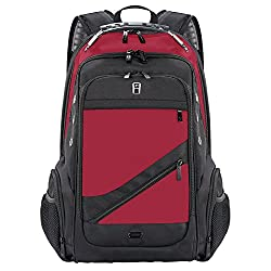 Laptop Backpack, Sosoon Business Laptop Backpack with USB Charging Port, Water Resistant Large Compartment College School Computer Bag for Men and Women for 15.6 Inch Laptop and Notebook, Red