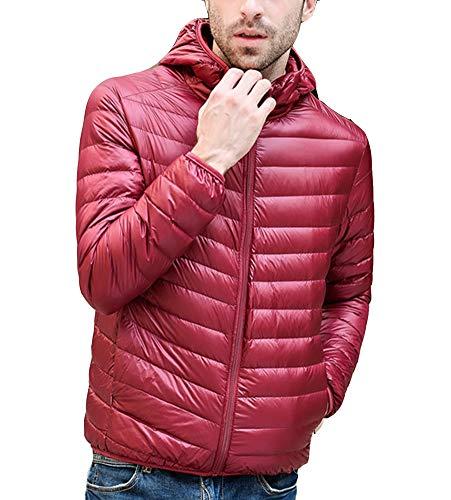 Lightweight Wine Mens Winter Coat GladiolusA Full Hooded Red Warm Zip Jacket 4Bqzg5g
