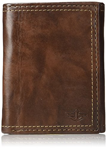 Dockers Men's RFID Security Blocking Extra Capacity Trifold Wallet,Brown Emboss
