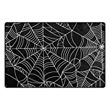 Cooper girl Halloween Spider Web Decorative Area Rug Pad Floor Mat for Living Dining Room Bedroom 31x20/60x39 Inch Black
