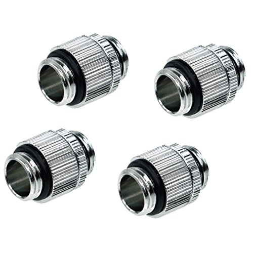 "Alphacool HF G1/4"" Male to Male Extender Fitting, Rotary, Chrome, 4-Pack"