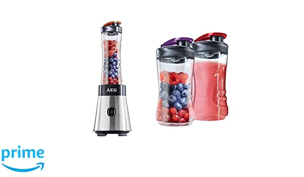 AEG SB2500 - Batidora Good To Go con botella portátil, acero inoxidable + AEG ASBEB2 - Pack de 2 botellas para batidora AEG SB2500 Good To Go: Amazon.es: ...