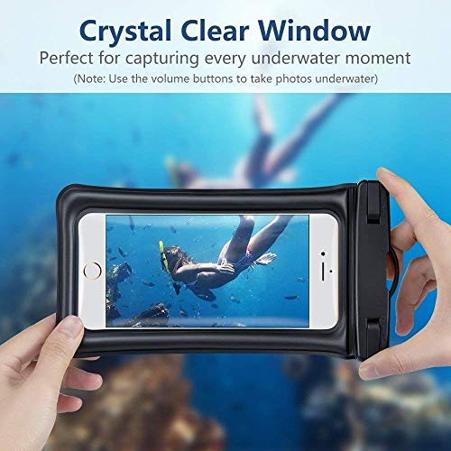 MQOUNY Waterproof Phone Pouch,2 Pack Floating Waterproof Case Waterproof Phone Case IPX8 Available TPU Clear Dry Bag for iPhoneXs/Xs Max/XR/8/8plus/7/6s/6/6s Plus Samsung up to 6.5'' (Black-Black) by MQOUNY (Image #2)