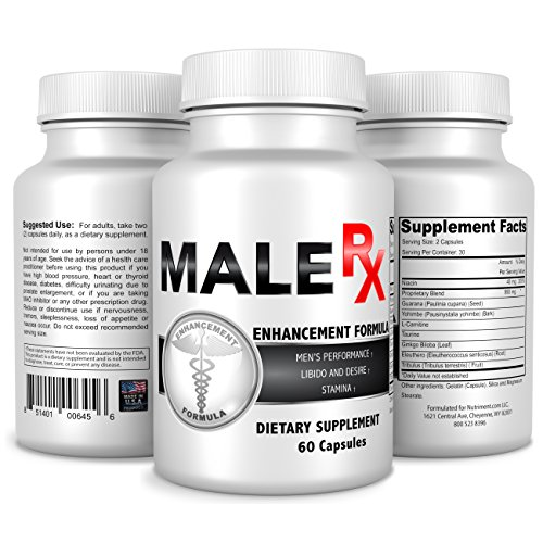 Male RX- Male Enhancement Supplement – Size Enhancing Pills for Men -Fast Acting and Natural Safe Alternative to Prescriptions -Improve Size Performance Stamina Energy & Libido –1 Month Supply